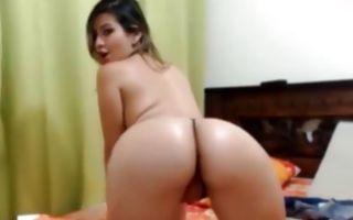 Gorgeous brunette girlfriend fingering ass hole solo