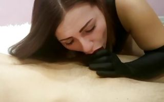 Fabulous brunette girlfriend nicely swallowing meaty dick