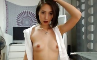 Innocent Asian cutie nicely fingering juicy tight snatch