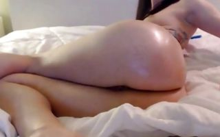 My GF with perfect oiled butt insanely playing with dildo