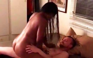 Hot Ebony ex-girlfriend with big booty riding on heavy rod
