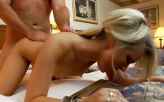 Cute blonde girlfriend swallowing knob before insane sex