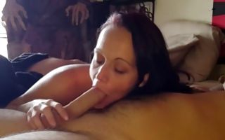 Marvelous GF nicely sucking meaty dick of depraved man