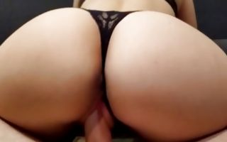 Hot bitch with a giant booty poked from behind
